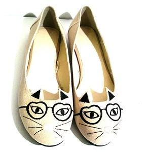 Torrid ballet flats canvas kitty cat Tan Shoes 11